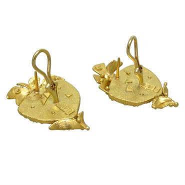 thumbnail image of James Barker 18k and 22k Gold Gemstone Earrings