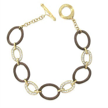 image of New Charriol Link Celtique 18K Gold Steel 0.24ct Diamond Bracelet