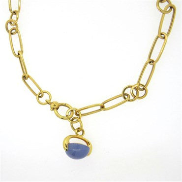 image of Pomellato Luna Chalcedony 18k Yellow Gold Pendant Necklace