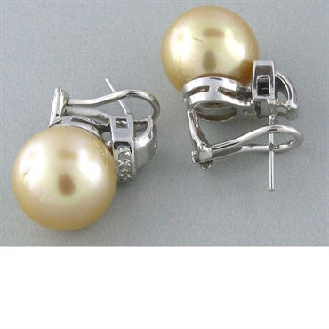 thumbnail image of Estate South Sea 14mm Pearl Diamond Earrings