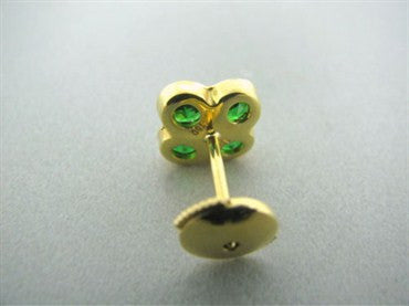 image of New Gumuchian 18K Gold Diamond Large Fleur Tsavorite Earrings