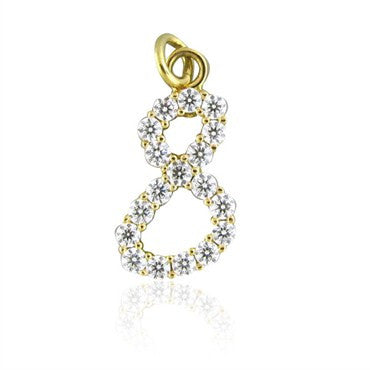 thumbnail image of Hearts On Fire Lucky Eight 18K Gold Diamond Charm Pendant