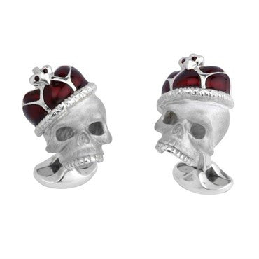 image of Deakin & Francis Sterling Silver Enamel Crown Skull Cufflinks