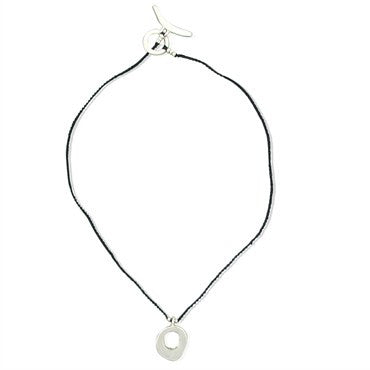 thumbnail image of Jill Platner Sterling Silver Leather Cord Circle Pendant Necklace