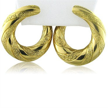 image of Large Estate Vintage Fred Paris France 18K Gold Earrings