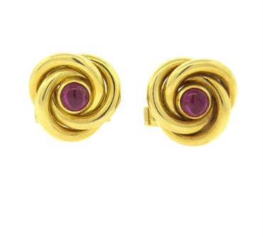 image of Ruby Cabochon Gold Knot Cufflinks
