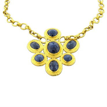 image of New Gurhan 24k Gold One Of A Kind 35.25ctw Sapphire Pendant Necklace