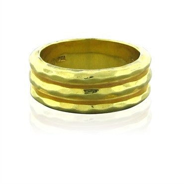 image of Henry Dunay 18K Yellow Gold Hammered Finish Ring
