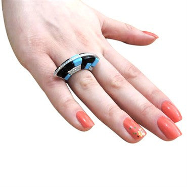 image of Georland France Onyx Turquoise Diamond Gold Fan Ring