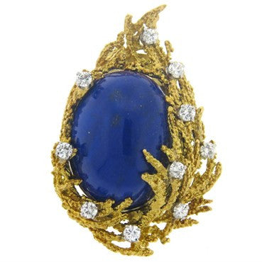 image of 1970s Lapis 1.00ctw Diamond 18k Gold Brooch Pin