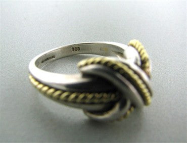 image of Estate Tiffany & Co Signature 18K Yellow Gold Sterling Silver X Ring