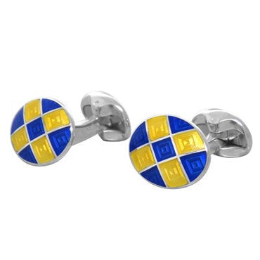 thumbnail image of Deakin & Francis Sterling Silver Blue Yellow Oval Cufflinks