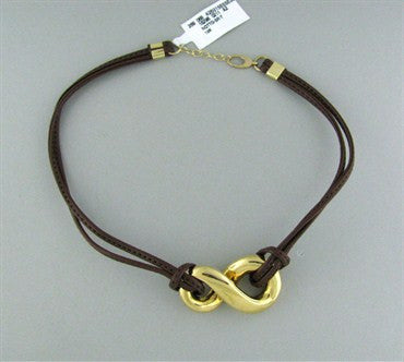 image of New Faraone Mennella 18K Brown Leather Cord Necklace