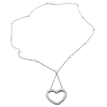 thumbnail image of Tiffany & Co Platinum 1.40ctw Diamond Heart Pendant Necklace