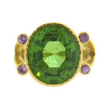 image of Elizabeth Locke 19k Gold Peridot Purple Spinel Ring