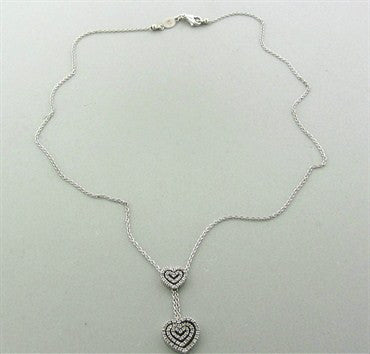 image of Estate Piero Milano 18K White Gold Diamond Heart Pendant Necklace
