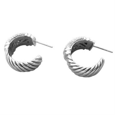 thumbnail image of David Yurman Sterling Silver 18K Gold 1.35ct Diamond Hoop Earrings