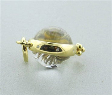 thumbnail image of Temple St. Clair Carved Crystal Diamond 18k Gold Moonface Pendant