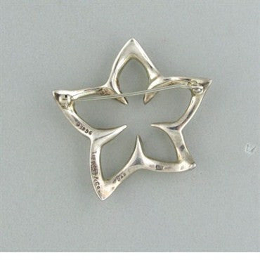 image of Tiffany & Co Sterling Silver Star Flower Brooch Pin