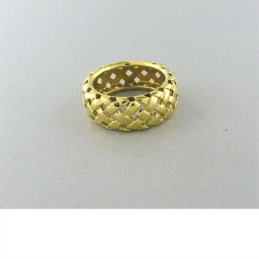 thumbnail image of Tiffany & Co 18k Gold Basket Weave Wide Band Ring