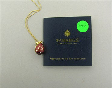 thumbnail image of Estate Faberge 18K Gold Red Enamel Diamond Egg Locket Pendant Necklace