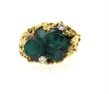 image of Free Form 1970s 14k Gold Diamond Chatham Emerald Ring