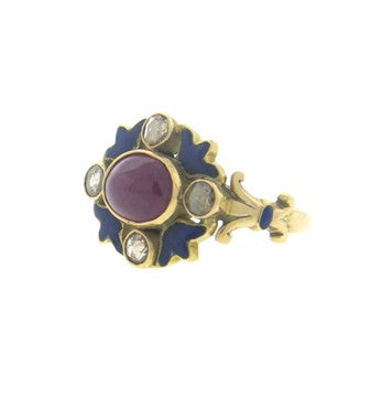 thumbnail image of Antique Blue Enamel 2.50ct Cabochon Ruby Diamond 18k Gold Ring
