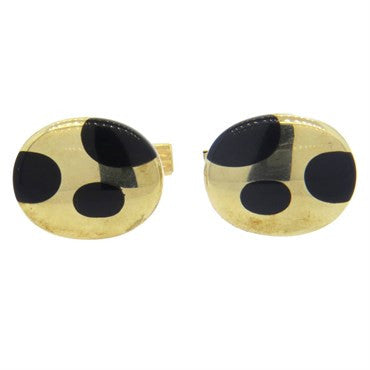 image of Onyx Inlay Gold Oval Cufflinks