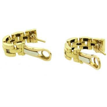 Classic Cartier Panthere Maillon Diamond 18k Gold Earrings