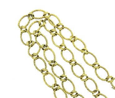 image of 1970s Heavy Oval Bamboo Pattern 14k Gold Chain Link Necklace