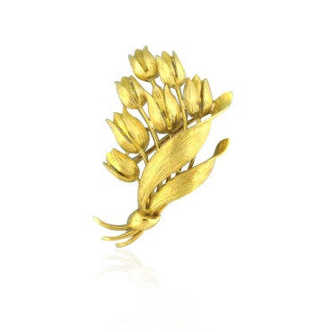 image of Estate Tiffany & Co 18k Gold Flower Brooch Pin