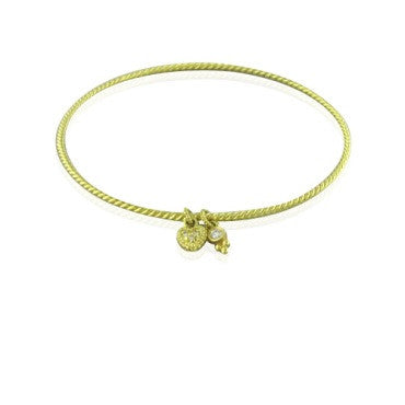 image of Judith Ripka 18k Heart Charm Diamond Bangle Bracelet