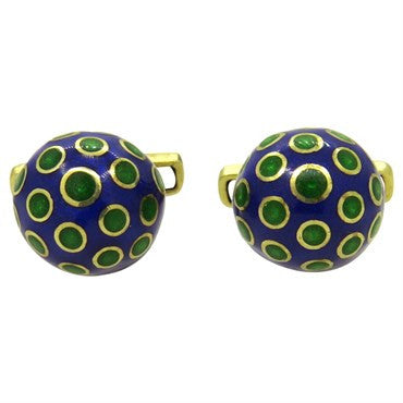 image of Green and Blue Enamel Gold Cufflinks