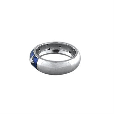 thumbnail image of Hidalgo 18K White Gold Blue Enamel Diamond Band Ring