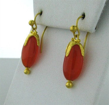 thumbnail image of New Gurhan 24k Gold Carnelian Star Cap Drop Earrings