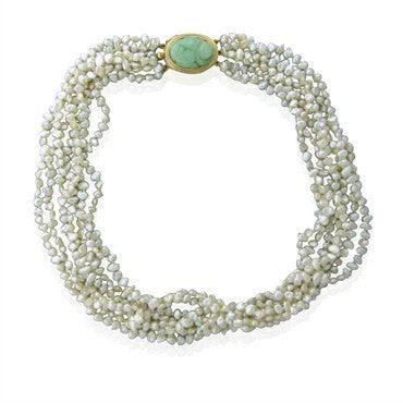 image of Estate Gumps Gump 14K Gold Pearl Carved Jade Multi Strand Necklace