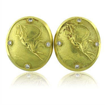 thumbnail image of Estate Seidengang Athena 18k Yellow Gold Diamond Earrings