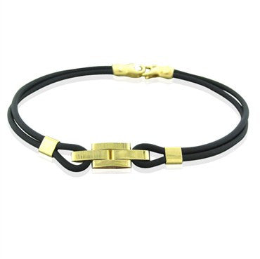 thumbnail image of New Roberto Coin 18k Gold Black Rubber Bracelet