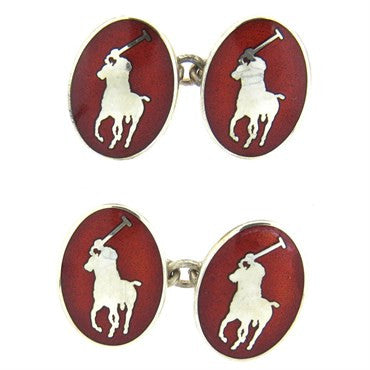image of Ralph Lauren Red Enamel Sterling Silver Polo Cufflinks