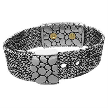 thumbnail image of John Hardy Kali Sterling Silver Diamond Wide Buckle Bracelet
