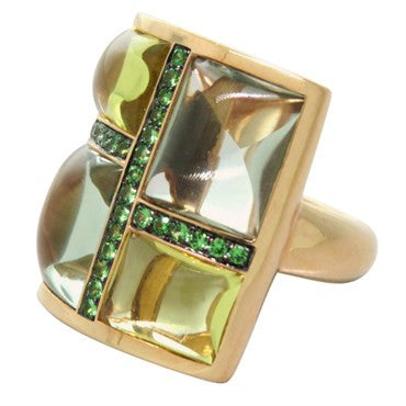 thumbnail image of Modern Multi Color Stones Demantoid Garnet Ring
