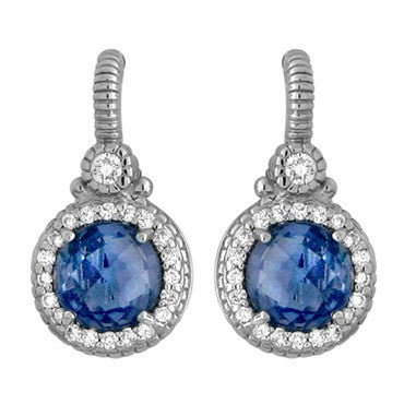 image of Judith Ripka 18K Gold Diamond Iolite Earrings