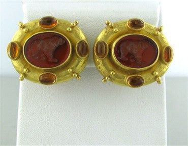 thumbnail image of Elizabeth Locke 18K Yellow Gold Citrine Cabochon Intaglio Earrings