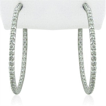 image of Tiffany & Co Metro 18K White Gold Diamond Hoop Earrings