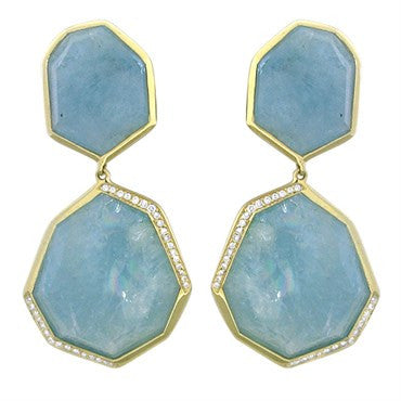 image of New Ippolita 18K Gold Diamond Milky Aquamarine Rock Candy Earrings