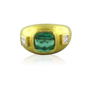 thumbnail image of Elizabeth Locke 18K Yellow Gold Green Tourmaline Diamond Ring