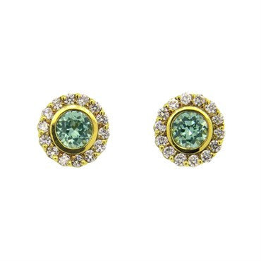 thumbnail image of Judith Ripka 18K Gold Green Gemstone Diamond Stud Earrings