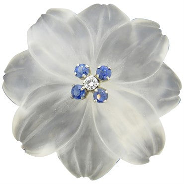 image of Frosted Crystal Sapphire Diamond 18k Gold Flower Brooch