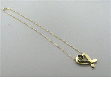 thumbnail image of Tiffany & Co Picasso Loving Heart Gold Pendant Necklace