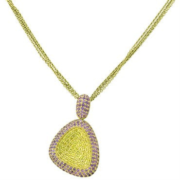 image of New Roberto Coin Capriplus 18k Gold Yellow Pink Sapphire Necklace